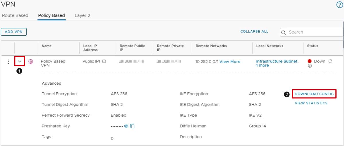 Download VPN Configuration and Configure On-Prem VPN Appliance